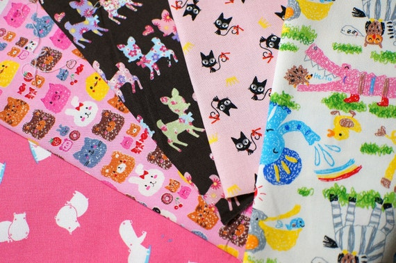 Animal fabric scrap set of 5 pieces MY130
