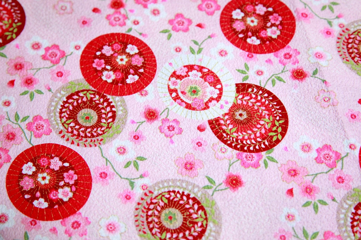 Kimono Fabric beautiful umbrella and flower print japanese