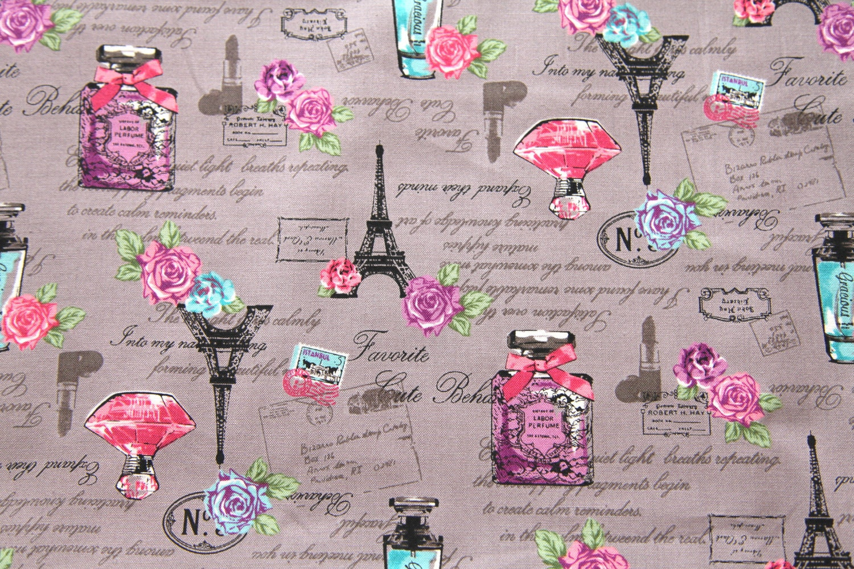 Paris Theme Print Japanese Fabric Half Yard E