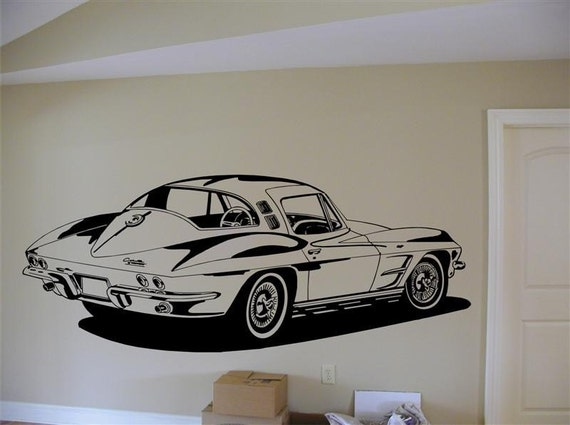 64 Corvette Vinyl Wall Decal Large Size By Mojographics On