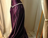 Guinevere - Custom made cadbury purple and antiqued ivory corset gown