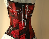 Made to measure Steampunk red and black steel boned corset