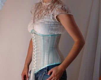 Custom made 'Blue Ice' steel boned Underbust corset