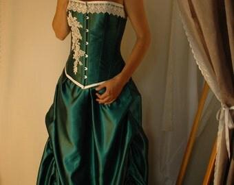 MARIAN - Custom made, Forest green and ivory adjustable bridal gown