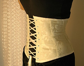 Made to meaure Ivory brocade front lacing waspie corset
