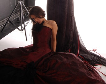 Candice - custom made Bridal gown in burgundy taffeta with Steel boned corset