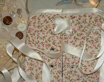 Ready to ship Romantic English country floral steel boned front lacing corset 38 inch waist