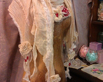 VEGAN FRIENDLY Custom made ethereal scarf Garnet and Pearl themed shawl pashmina wrap
