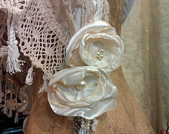 Custom made cream and ivory Victorian style scarf, vintage and contemporary lace ethereal shawl pashmina wrap