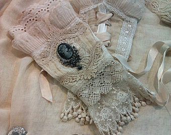 VEGAN - Custom made cream and ivory Victorian inspired lace and cameo arm cuffs gloves gauntlet