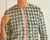 Houndstooth Monte Carlo Jacket Vintage 1960s Knitting Pattern PDF 6503 Vintage size 10 12 14 16 18 20 Bust 31 32 34 36 38 40 Jumper Pattern