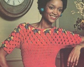 Vintage 1970s Sweater Jumper Blouse Pattern Crochet Shell Yoke  PDF 7421 Bust 30 31 32 33 34 35 36 Size XS S M L Extra Small Medium Large