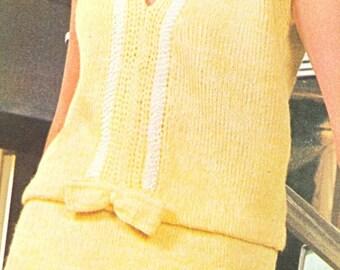 Vintage 1960s Mad Men V Neck 2 Piece Dress Knitting Pattern  PDF 6508