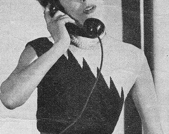 Vintage 1950s Diagonal Yoke Flame Sweater Jumper Knitting Pattern PDF 5204