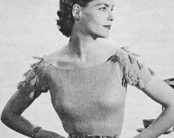 Vintage 1950s Tassel Sleeve Blouse Knitting Pattern PDF 5208