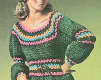 Vintage 1970s Crochet Dress Pattern Hippie Ren Faire Gypsy Faux Rick Rack 70s Bust 34 35 36 37 38 XS S M Pdf 7101