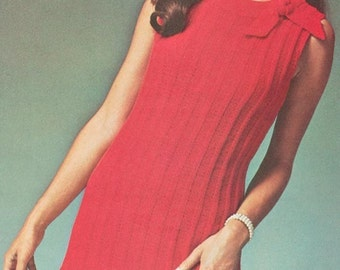 Vintage 1970s Ribbed Flounced Red Dress Knitting Pattern PDF 7011