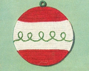Vintage 1950s Christmas Ornament Potholder Crochet Pattern PDF 5301