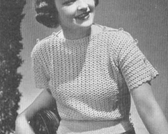 Shoulder Buttoned Vintage 1930s Crochet Blouse Sweater Jumper Pattern PDF 3905