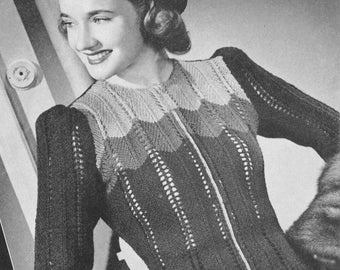Vintage 1940s Zip Front Multi Color Cafe Society Sweater Knitting Pattern PDF 4002