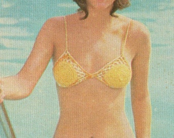 1970s Vintage Bikini Poncho Skirt Crochet Pattern PDF 7501