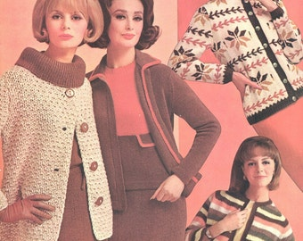 Four Fab 1960s Mad Men Autumn Knitting Pattern All Four Outfits on One PDF 6410