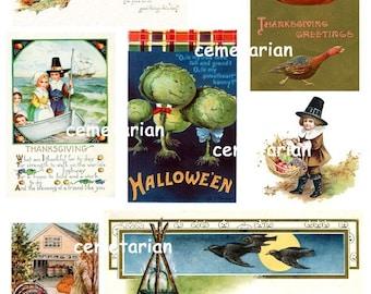Antique Autumn Holiday Postcard Collage Clip Art Scrapbooking Digital Download Thanksgiving Halloween D102