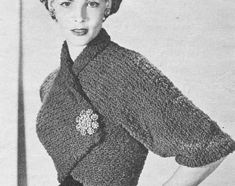 Vintage 1950s Wrap Over Shrug Knitting Pattern PDF 5205