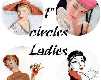 Ladies Circles Digital Collage Sheet Clip Art 48 1 inch circles D112