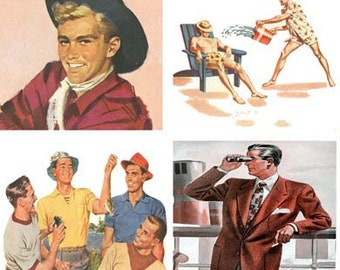 Vintage Mid Century Men Suits and Cowboys Digital Clip Art Download 2 in and 1 x 2 inch Domino 23 images D113