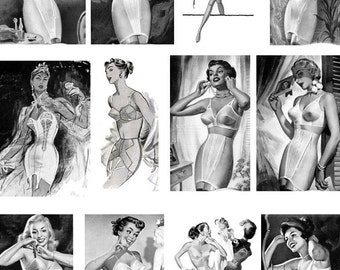 Basic Foundations Bra and Girdles in Black and White Digital Collage Sheet 12 Images Download D116