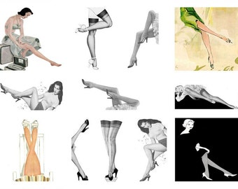 She's Got Legs Digital Collage Sheet 2 x 2 squares and 1 X 2 Domino D118