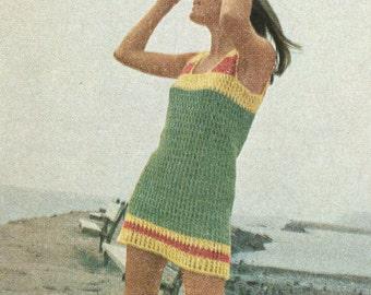 Vintage 1960s Hippie Beach Shift Crochet Pattern PDF 6908 bust 32 33 34 35 36 37 38 Size XS S M