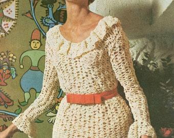 Vintage 1960s Romantic Ruffle Dress Crochet Pattern PDF 6909
