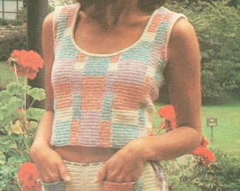 Vintage 1970s Crochet Patchwork Shorts and Top Pattern PDF 7612 Size S M Small Medium Bust 30 31 32 33 34 35 36 Hip 32 33 34 35 36 37 38