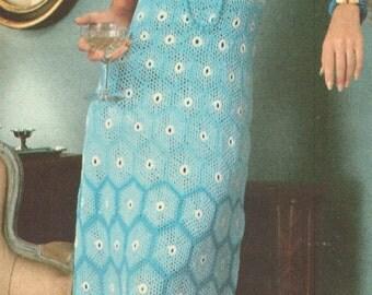 Vintage 1970s Crochet Shaded Motif Maxi Dress Pattern PDF 7515