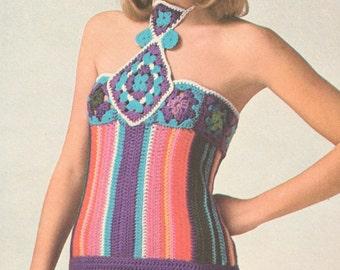 Vintage 1970s Crochet Halter Top Pattern PDF 7511