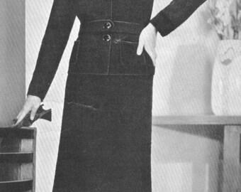 Vintage 1930s Jumper Sweater Skirt 2 Piece Sports Suit Knitting Pattern PDF 3201 30s Art Deco Size 16 Bust 32 33 34