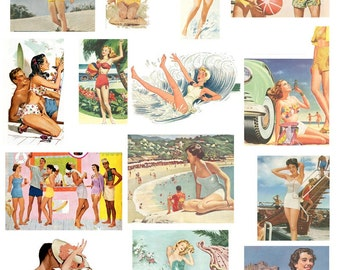 On the Beach Too Digital Collage Sheet Digital Download D123