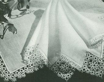 Vintage 1940s Fancy Handkerchief Hanky Edging Tatting Pattern PDF 4623