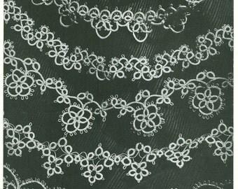 Vintage 1940s Six Handkerchief or Linen Edging Tatting Pattern PDF 4625