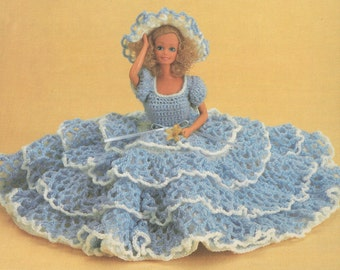 Vintage Barbie Lacy Dress and Hat Crochet Pattern PDF 8308