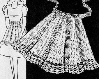 Vintage 1940s Half Apron Pattern Crochet PDF 4821 Mid Century 40s