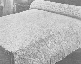 Vintage 1940s Crochet Popcorn Whirl Bedspread Pattern PDF 4101