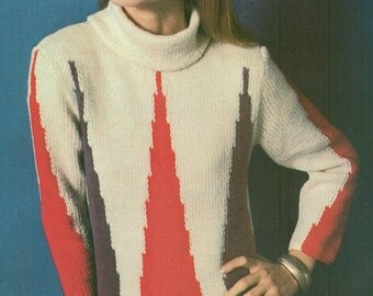 Vintage 1970s Red White and Blue Flame Stitch Turtleneck Sweater Knitting Pattern PDF 7018