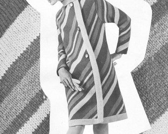 Vintage 1960s Diagonal Striped Coat Knitting Pattern PDF 6914