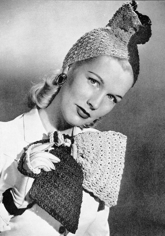 Vintage 1940s Crochet Jesters Hat and Bag Pattern PDF 4502