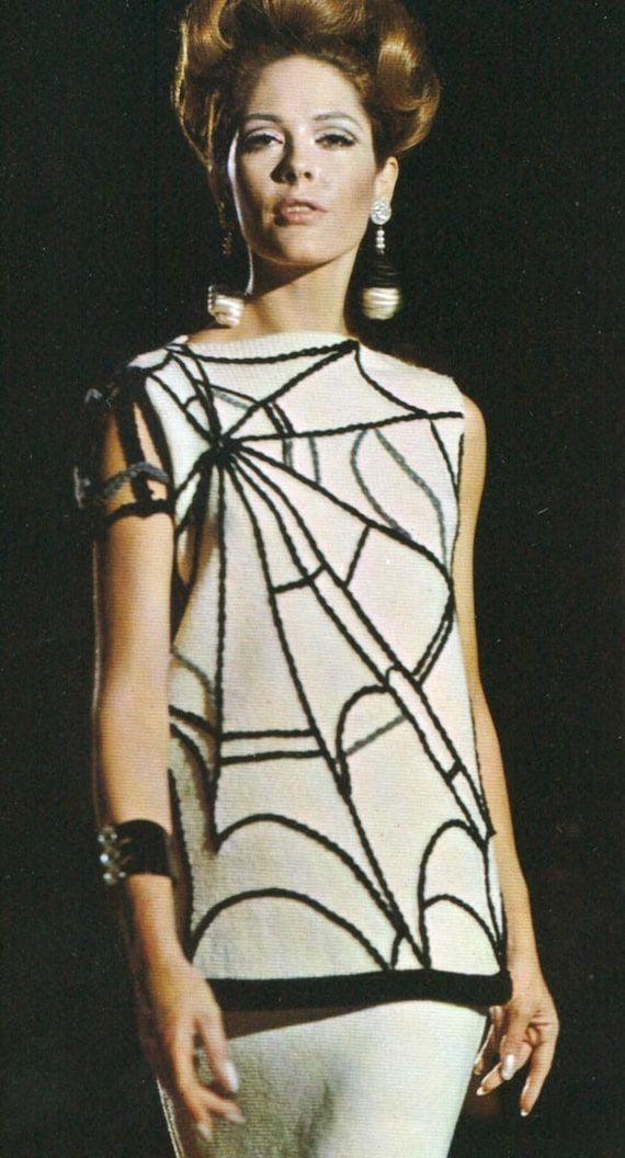 Vintage 1960s Spiderweb Skirt MOD Goth Spider Web Shell Maxi Skirt  Knitting Pattern PDF 6703 Sweater Jumper Spider Web Novelty Pattern