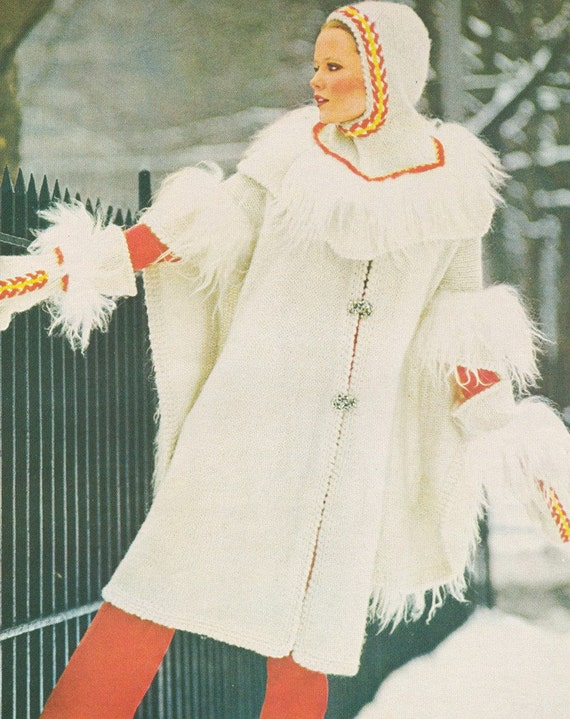 Vintage 1970s Kutu Cape Coat with Knight Hood and Mittens Knitting Pattern PDF 7604