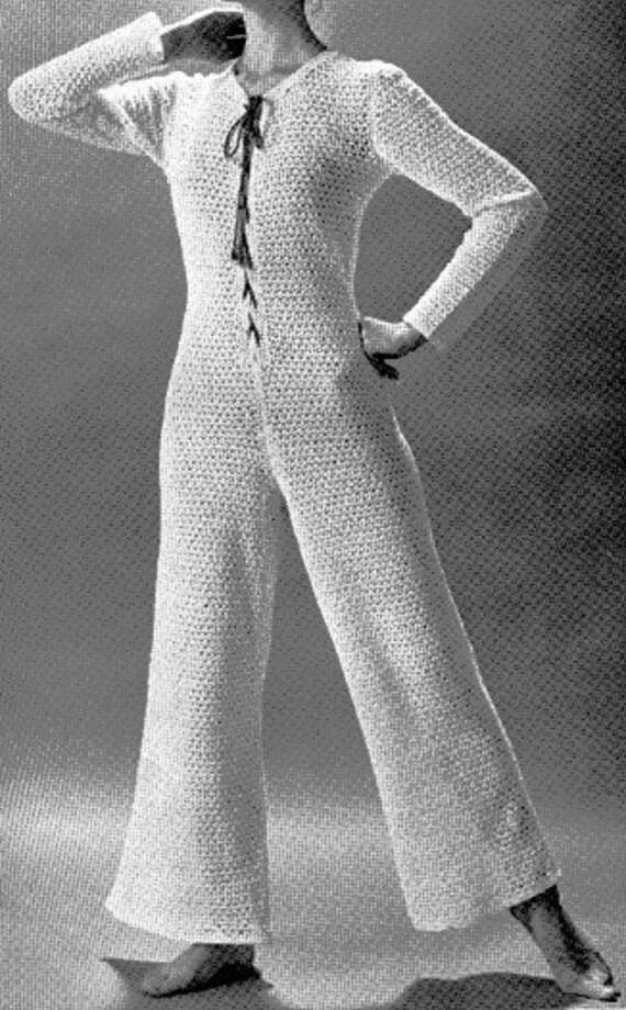 Vintage 1970s Hippie Jumpsuit Crochet Pattern PDF 7104